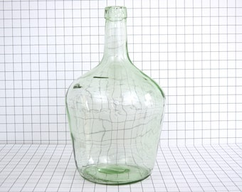 Vintage demijohn bottles 2 liters - Glass demijohn wine bottle flowers vase - French vintage decoration carboy demijohn blue green glass