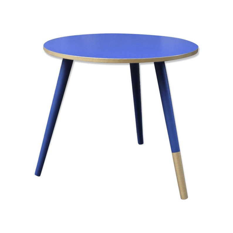 Three Legged Coffee Table.Vintage Coffe Table Three Legs Vintage Wooden Coffee Table Navy Blue And Gold Round Couch Table Scandinavian Style Small Round Table