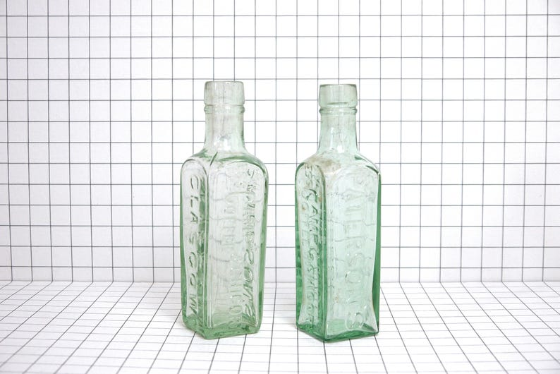 da010861af4 Two bottles Paterson Camp Coffee Glasgow - Vintage green glass bottle  instant coffee Camp Coffee - Glass bottle advertising - Small bottles