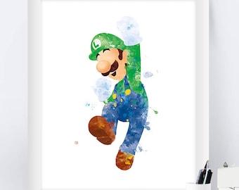 Super Mario Luigi Print Super Mario Bros Art Print Watercolor Games Poster Printable Wall Art Nursery Decor Gift instant download