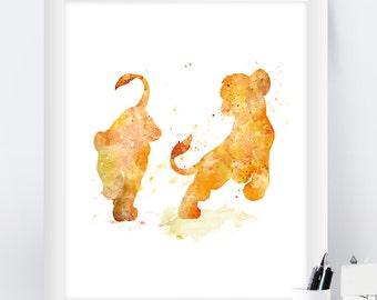 Lion King Watercolor, Simba, Nala, Wall Art, The Lion King Art Print, Disney Poster, Nursery, Lion King Printable, Home decor, Wall Hanging