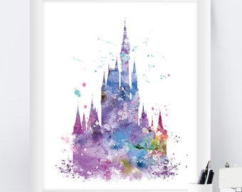 Cinderella Castle, Watercolor Print, Princess Castle, Disney Castle Print Castle Poster, Gift, Disney Nursery Watercolor Artwork, Wall Art