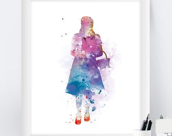 Wizard of Oz Art Print Watercolor Inspirational Dorothy Home Decor Oz Gift for Friend Christmas Gift Wall Art Nursery Art Movie Poster