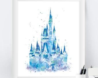 Cinderella Castle Print, Watercolor Princess Castle, Disney Castle Print, Disney Gift, Baby Nursery Decor, Artwork Wall Art instant download