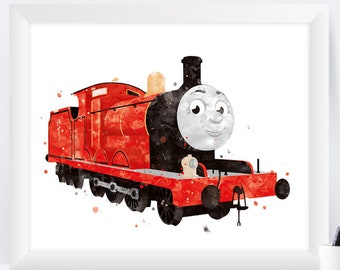 James the Train James Train Print Watercolor Painting Wall Art Thomas and Friends Disney Art Nursery Print Gift