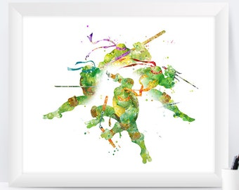 Teenage Mutant Ninja Turtles Print TMNT Poster Watercolor TMNT Wall Art Nursery Gift Ninja Turtles Home Decor instant Download
