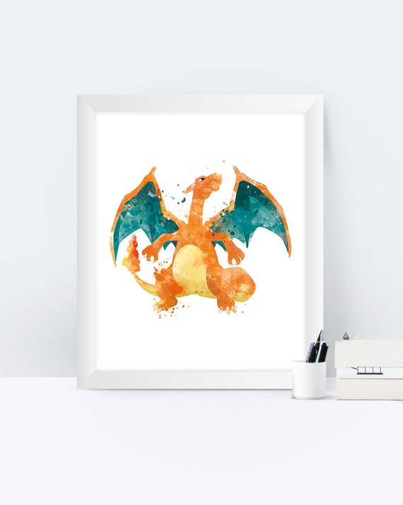 Pokemon Glurak Kunstdruck Pokemon Poster Pokemon gehen | Etsy