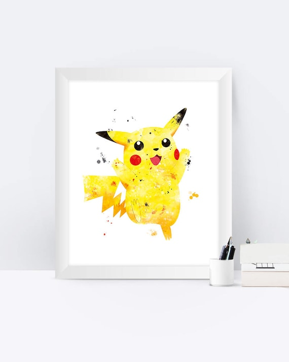 image regarding Printable Pikachu referred to as Pikachu Pokemon Artwork Print, Pokemon Poster, Pokemon Items, Watercolor, Printable Pikachu, Youngsters, Nursery, Dwelling Decor, Present, Pokemon Wall artwork