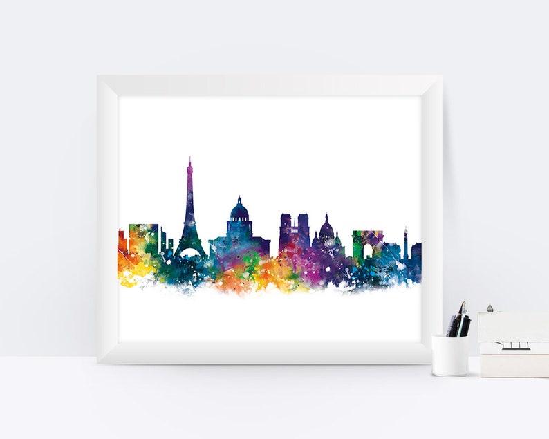 Paris Print Watercolor Skyline Home Decor