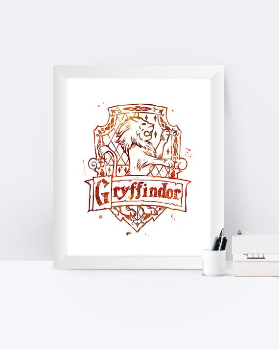 Gryffindor Crest Watercolor Printable Wall