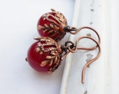 Earrings copper quot cherry princess quot dark red