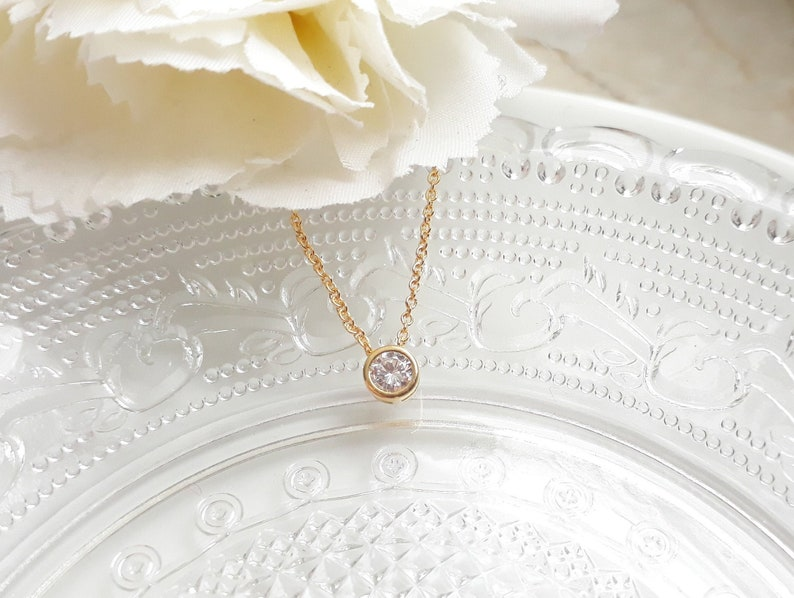 Necklace gold plated Bling Cubic Zirconia gold white crystal clear