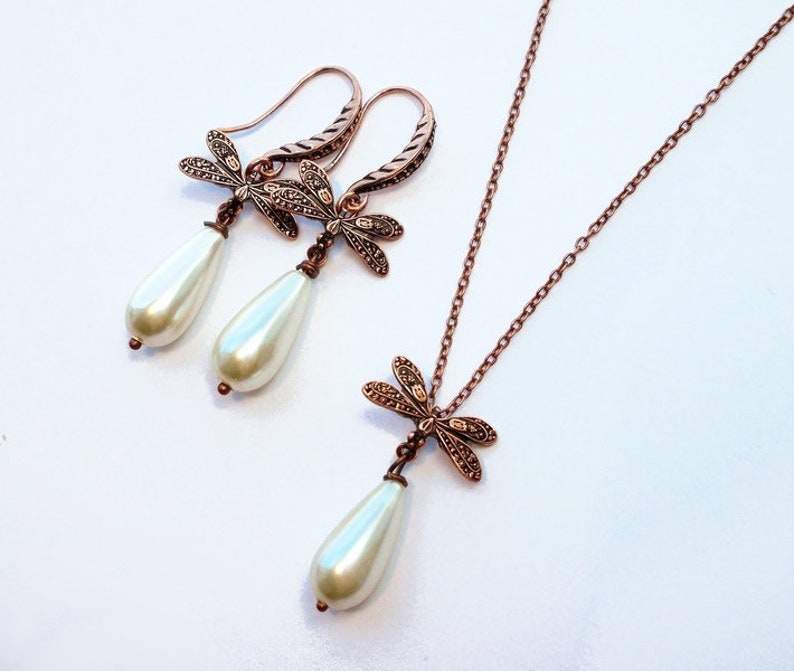 Necklace copper /' dragonfly drop /' cream white