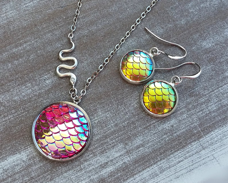 Jewelry set silver plated Snake Skin silver pink aurora borealis-necklace and earrings