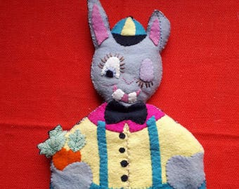 Vintage Handmade Felt Rabbit