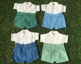 1950s Cotton Romper Suits, Buttoned Shirt and Shorts, Size 18 mths, Made in England