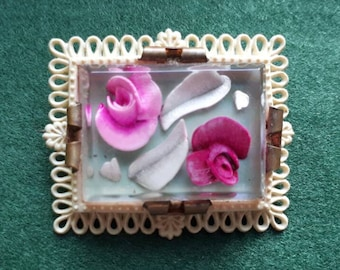 Vintage Reverse Carved Lucite and Celluloid Brooch Pink Roses