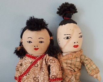 Vintage Chinese Cloth Dolls Boy Girl
