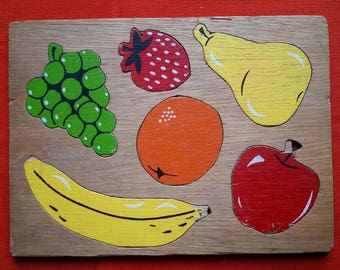 Vintage Wooden Fruit Inset Tray Puzzle