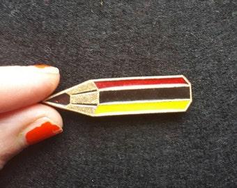 Vintage Gold Tone Enamel Pencil Pin Brooch