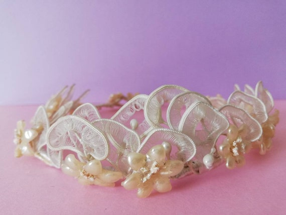 Antique Wax Floral Wedding Tiara Wreath