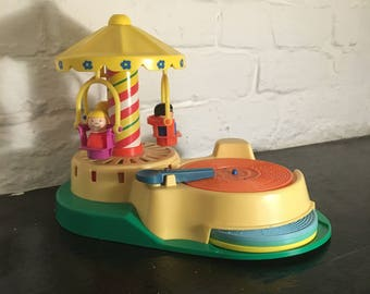 Vintage 1980s Fisher Price Change-A-Tune Record Player and Carousel, Model no. 170
