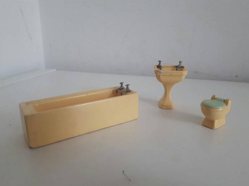 Jahrgang Gips Puppen Badezimmer Set