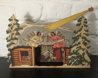 Vintage Handmade Nativity Scene with Wax Baby Jesus 1960s