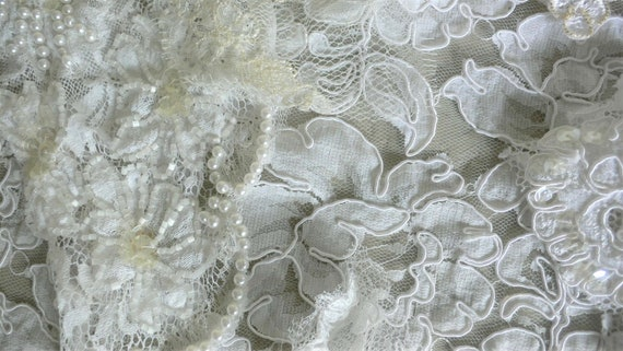 Job Lot Couture fabric Beaded Lace Remnants Beaded French Lace Remnants Scrap bag Bridal  Millinery  Dressmaking  doll clothes etc E1