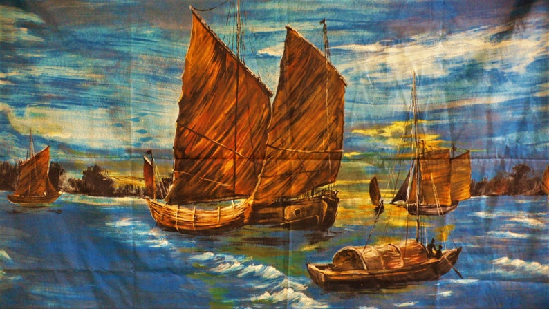 looks great illuminated RARE Vintage Mid Century fabric Painterly boat tropical Oriental Sampson boats  for Framing  cushions  blind etc