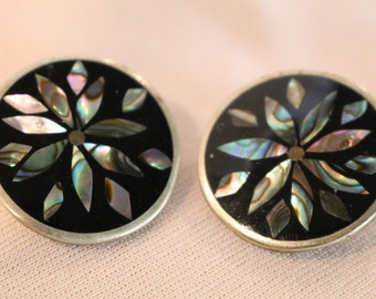 80's Clip On Black and Pearlescent earrings 1980s Vintage earrings