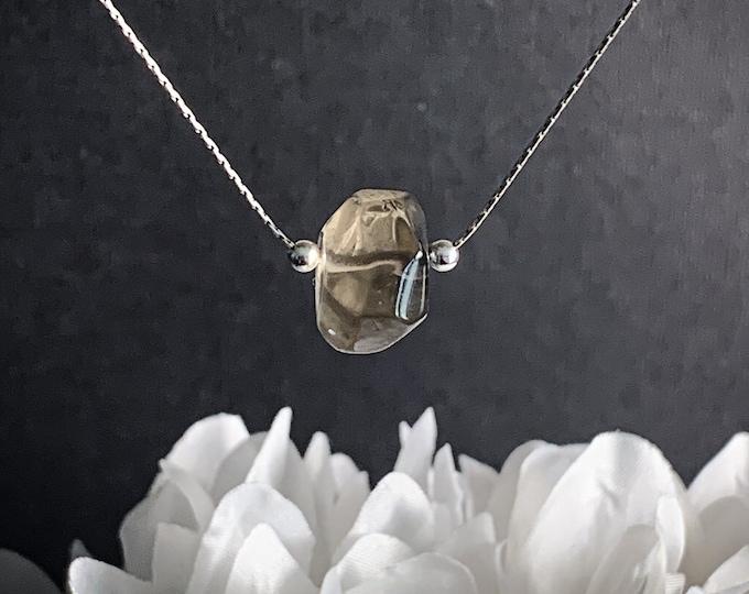 Smoky Quartz Pendant Smokey Quartz Necklace Gemstone Necklace Calming Protection Necklace, Silver Chain Crystal Stone Necklace