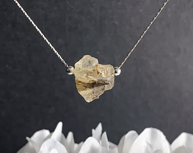 Imperial Topaz Necklace, Raw Crystal Pendant, Healing Crystals Manifestation, Simple November Birthstone Necklace