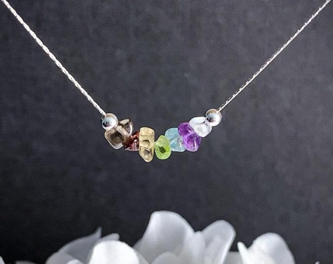 Raw 7 Chakra Stones Healing Crystals Necklace, Chakra Choker Spiritual Necklace to Balance the Chakras Spiritual Gift