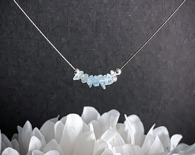 Aquamarine Necklace Courage Jewelry, Anxiety Jewelry, Protection Amulet