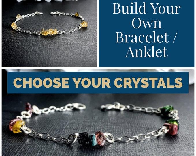 Choose your Crystals Custom Bracelet Anklet Personalized Protection Bracelet