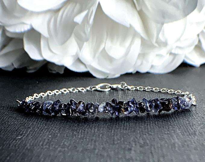 Iolite Raw Blue Bracelet Throat Chakra Everyday Bracelet Layering Bracelet Bridesmaids Bracelet Stacking Bracelets Bridesmaids Gift