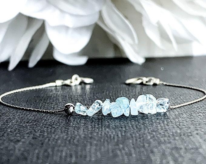 Aquamarine Bracelet Raw Crystal March Birthstone Dainty Bracelet