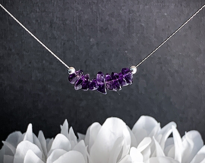 Amethyst Calming Necklace Empath jewelry, Aquarius Birthstone Anxiety Jewelry
