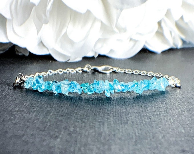 Apatite Anklet Jewelry Gift - Positive Energy jewelry, Throat Chakra, Blue Bracelet, Girlfriend Gift for Her, Blue Ankle Bracelet