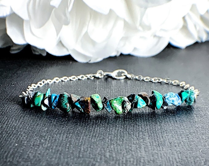 Chrysocolla Crystal Raw Stone and Silver Bracelet