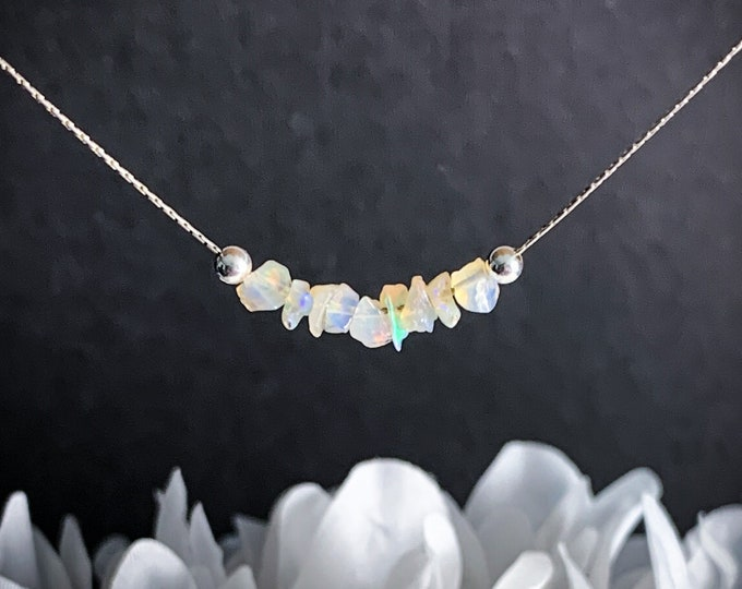 Raw Opal Necklace, Iridescent Necklace Opal Choker, Genuine Opal Jewelry