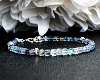 Rainbow Cubic Fluorite Crystal Bracelet