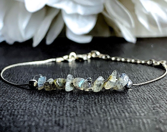 Labradorite Bracelet, Positive Energy Calming Bracelet Silver Anklet