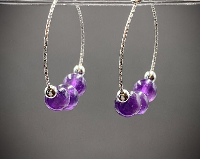 Amethyst Earrings Aquarius Birthstone Empath Protection, Third Eye Anxiety Crystals