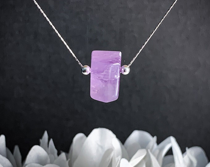 Amethyst Pendant Necklace, Protection Anti Anxiety Necklace, Calming Choker Necklace, Aquarius Birthstone