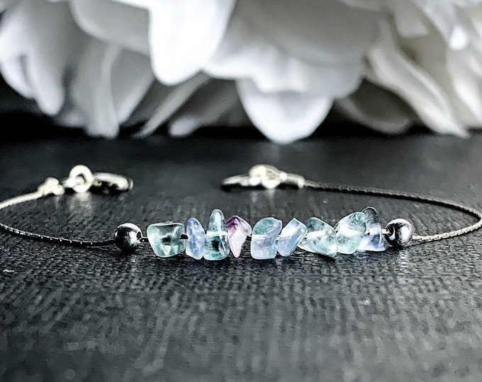 Blue Rainbow Fluorite Calming Bracelet Dainty Anklet Anxiety Raw Crystals