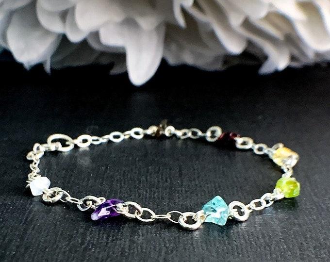 7 Chakra Bracelet Satellite Chain Silver Anklet