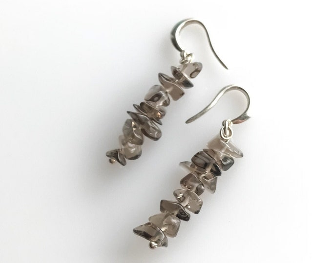 Raw Smoky Smokey Quartz Crystal Earrings, EMF Protection