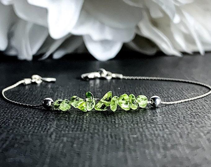 Raw Peridot Bracelet, Anklet, Good Luck Bracelet, Energy Bracelet, August Birthstone